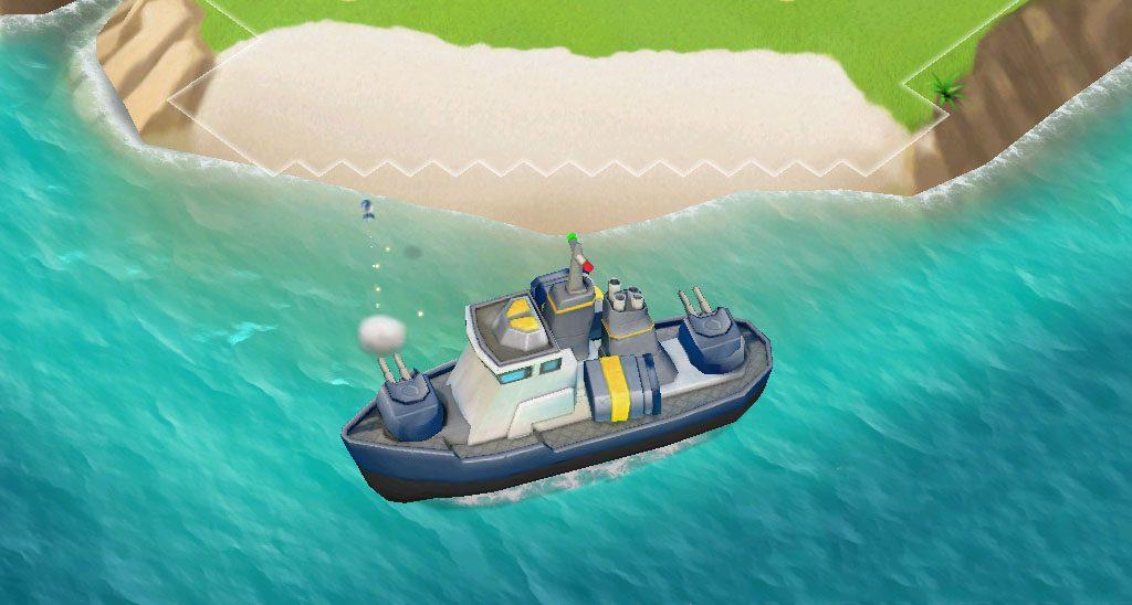 Gunboat in action boom beach