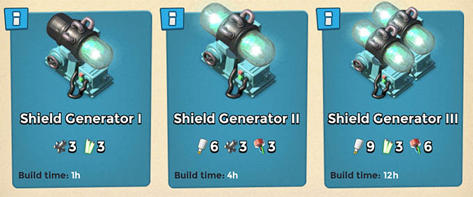 Shield Generator levels