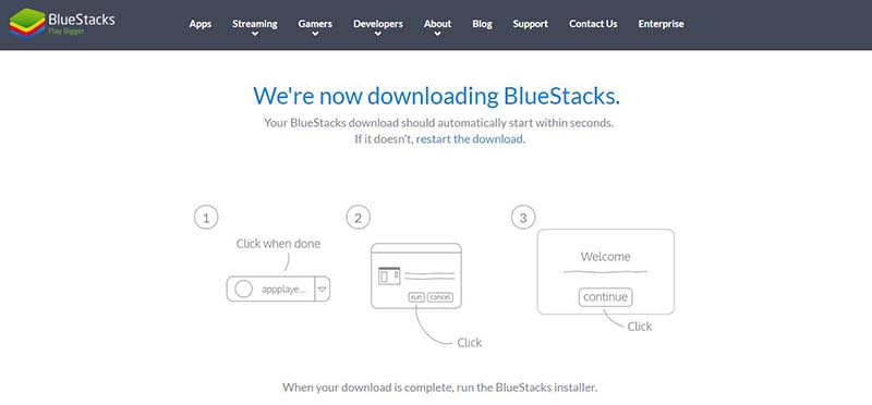BlueStacks downloading page