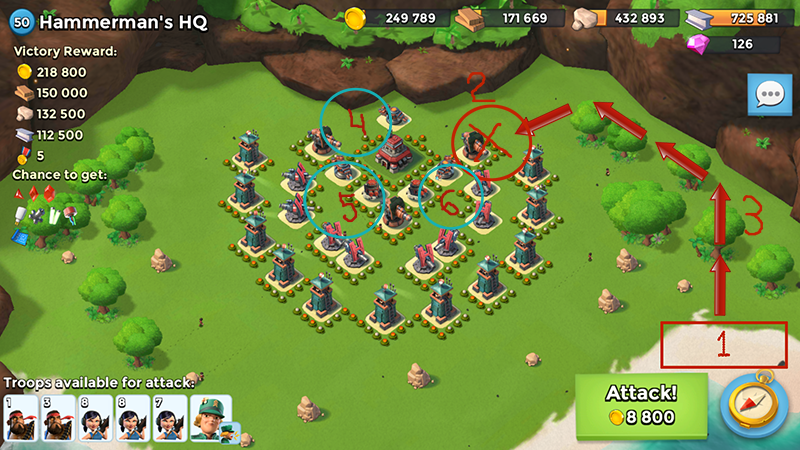 Lt. Hammerman HQ 50 lvl base attack sheme